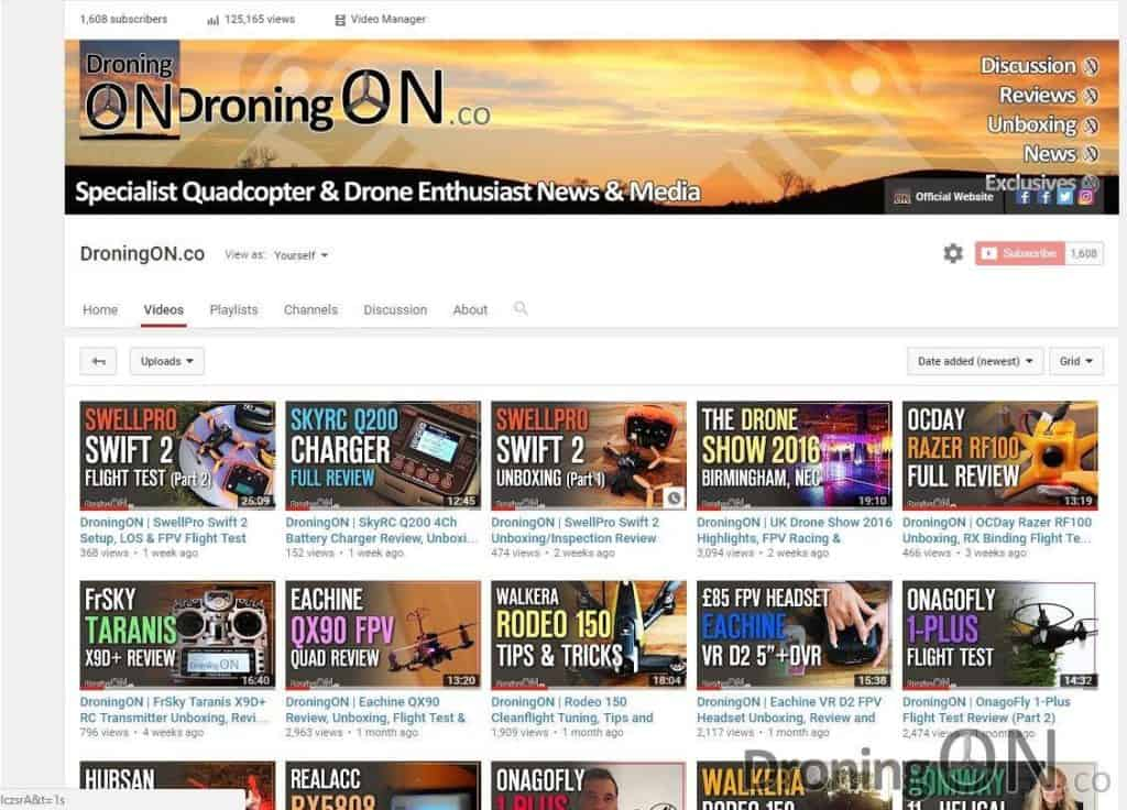 The DroningON YouTube channel, which is now host to over 28 videos.