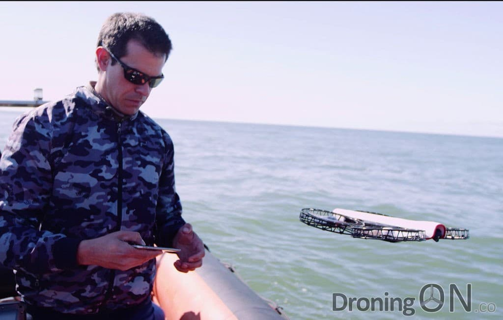 Snap from Vantage Robotics, being flown above water during beta testing.
