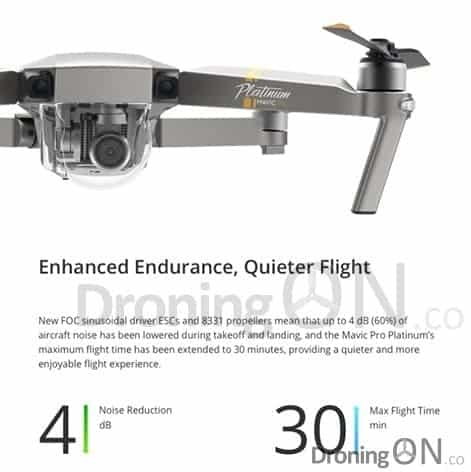 The specifications of the new Mavic Pro Platinum to be launched soon.