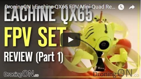 YouTube thumbnail for the Eachine QX65 review, unboxing and inspection