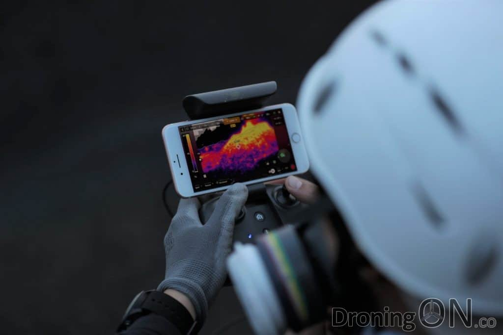 The Parrot app showing a real time video feed from the Anafi Thermal FLIR drone.